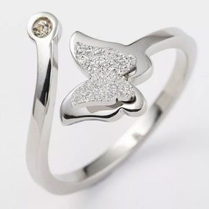 Stainless steel silver butterfly ring.